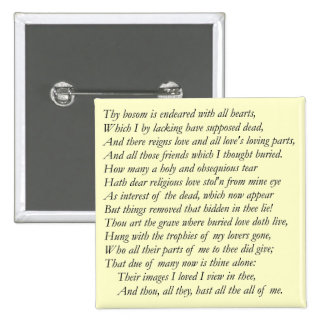 Sonnet # 31 by William Shakespeare Pinback Buttons