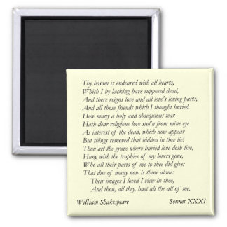Sonnet # 31 by William Shakespeare Magnet