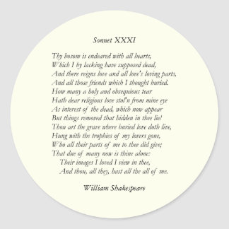 Sonnet # 31 by William Shakespeare Round Stickers
