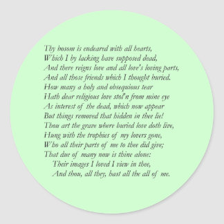 Sonnet # 31 by William Shakespeare Stickers