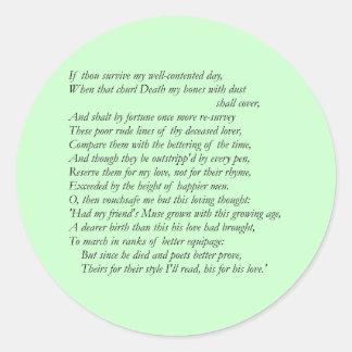 Sonnet # 32 by William Shakespeare Classic Round Sticker