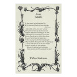 Sonnet # 32 by William Shakespeare Print