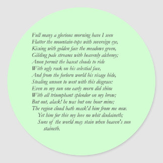 Sonnet # 33 by William Shakespeare Classic Round Sticker