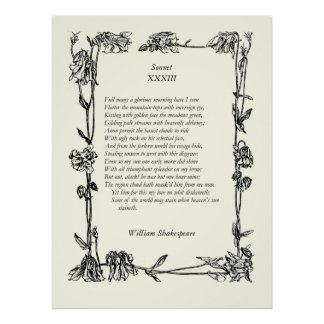 Sonnet # 33 by William Shakespeare Poster