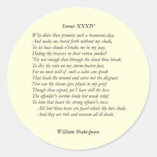Sonnet # 34 by William Shakespeare Classic Round Sticker