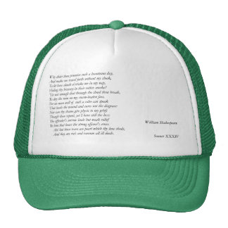 Sonnet # 34 by William Shakespeare Mesh Hat