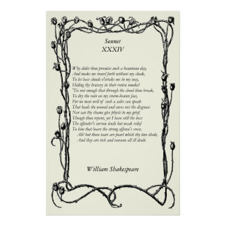 Sonnet # 34 by William Shakespeare Poster