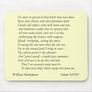 Sonnet # 35 by William Shakespeare Mouse Pad