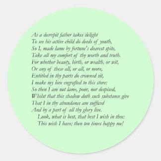 Sonnet # 37 by William Shakespeare Classic Round Sticker