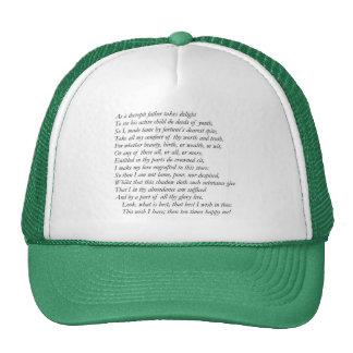 Sonnet # 37 by William Shakespeare Trucker Hat