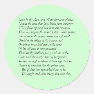 Sonnet # 3 by William Shakespeare Classic Round Sticker