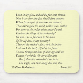 Sonnet # 3 by William Shakespeare Mouse Pad