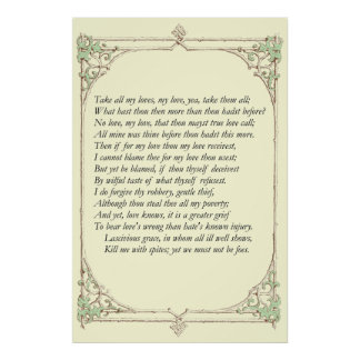Sonnet # 40 by William Shakespeare Poster