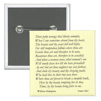 Sonnet # 41 by William Shakespeare 2 Inch Square Button