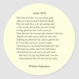 Sonnet # 42 by William Shakespeare Classic Round Sticker