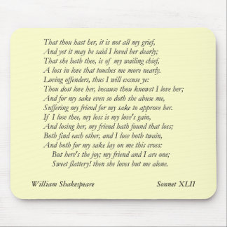 Sonnet # 42 by William Shakespeare Mouse Pad