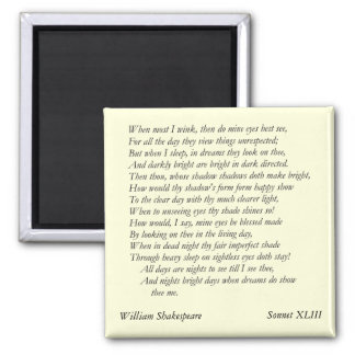 Sonnet # 43 by William Shakespeare Magnet