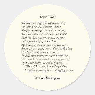 Sonnet # 45 by William Shakespeare Classic Round Sticker