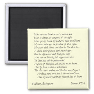 Sonnet # 46 by William Shakespeare 2 Inch Square Magnet