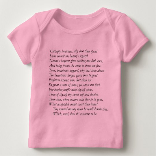 Sonnet # 4 by William Shakespeare Baby T-Shirt