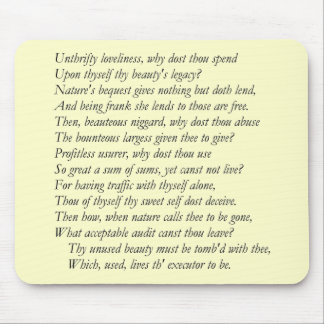 Sonnet # 4 by William Shakespeare Mouse Pad