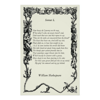 Sonnet # 50 by William Shakespeare Print