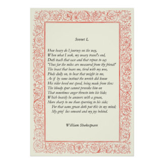 Sonnet # 50 by William Shakespeare Poster