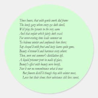 Sonnet # 5 by William Shakespeare Classic Round Sticker