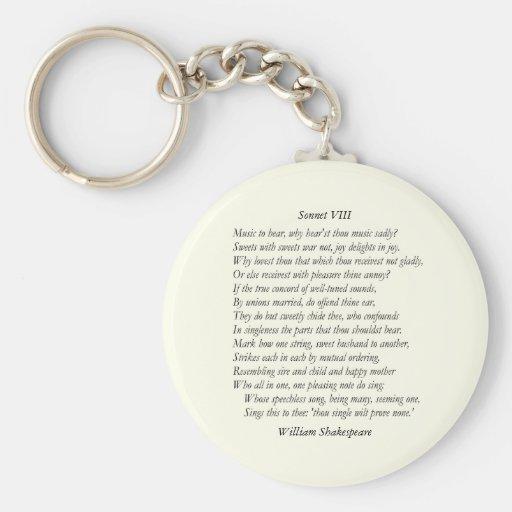 Sonnet # 8 by William Shakespeare Keychain