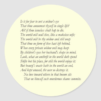 Sonnet # 9 by William Shakespeare Classic Round Sticker
