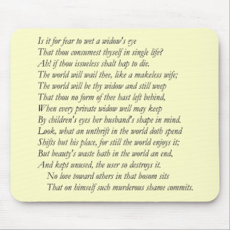 Sonnet # 9 by William Shakespeare Mouse Pad