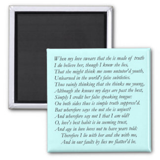 Sonnet Number 138 by William Shakespeare Magnet