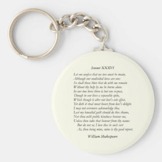 Sonnet Number 36 by William Shakespeare Key Chain