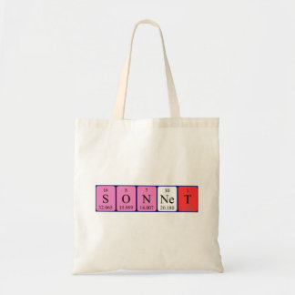 Sonnet periodic table name tote bag