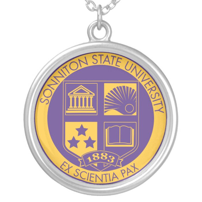 Sonniton State University Seal - Purple/Gold Silver Plated Necklace