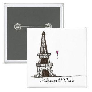Soño con París, 2 Pin Cuadrado
