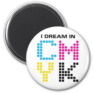 Soño en CMYK Imán Redondo 5 Cm