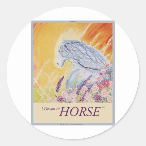 Soño en el caballo (TM) Pegatina Redonda