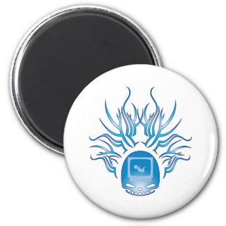 Sonograms Skull 2 Inch Round Magnet