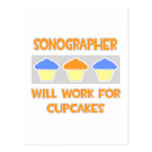 Sonographer ... Will Work For Cupcakes Postcard