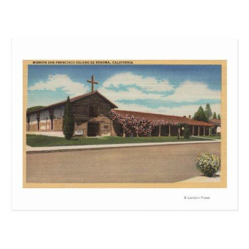 Sonoma, CA - misión San Francisco Solano Tarjeta Postal