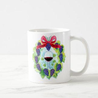 Sonoma County Wine Grapes Christmas Wreath Coffee Mug