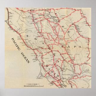 Sonoma, Marin, lago, y condados de Napa Poster
