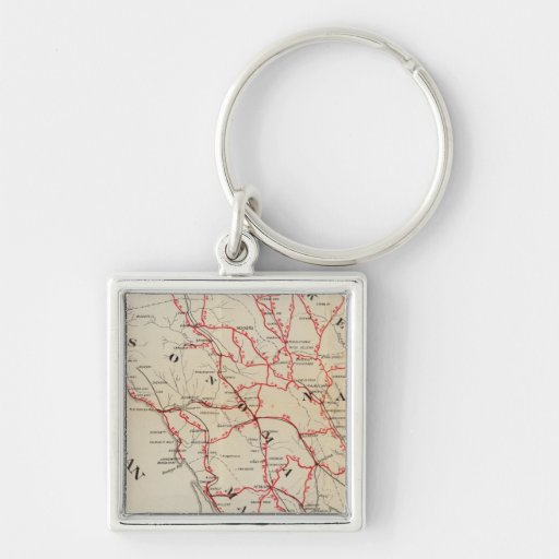 Sonoma, Marin, Lake, and Napa Counties Silver-Colored Square Keychain