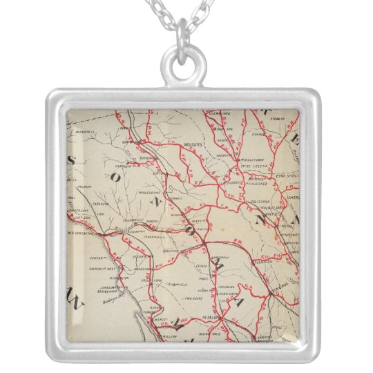 Sonoma, Marin, Lake, and Napa Counties Silver Plated Necklace