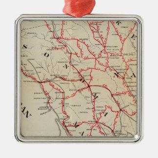 Sonoma, Marin, Lake, and Napa Counties Square Metal Christmas Ornament