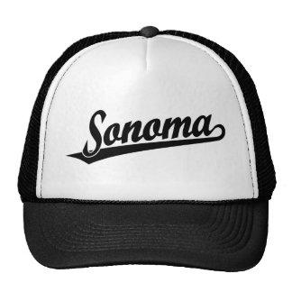 Sonoma script logo in black trucker hat