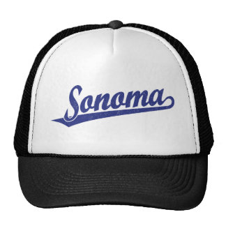 Sonoma script logo in blue distressed trucker hat