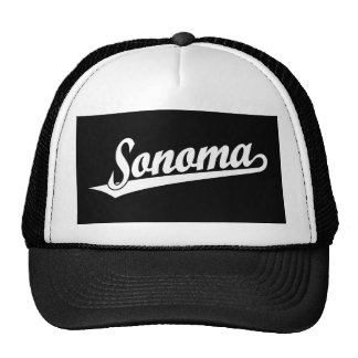 Sonoma script logo in white trucker hat