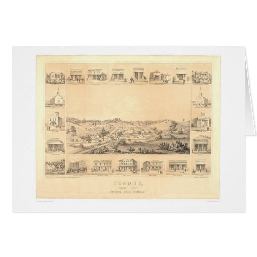 Sonora, CA. Panoramic Map 1854 (1647A) - Restored Card